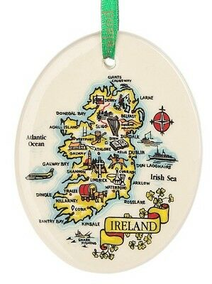 Map of Ireland Ornament Ceramic Celtic Irish Gift New Christmas Tree Ornament