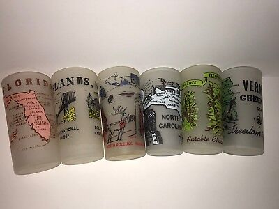 Vintage State Glass Lot Of 5 Frosted Vermont New York North Carolina Florida