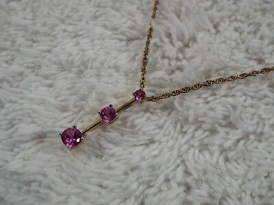 Goldtone Pink Rhinestone Pendant Necklace (C47)