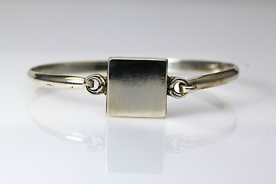 Square Engravable ID Sterling Silver 925 Mexico Bangle Bracelet 17.2g (BR2739)