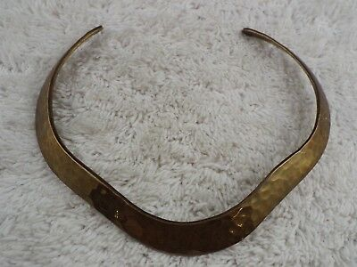 Solid Hammered Brass Collar Necklace (C47)