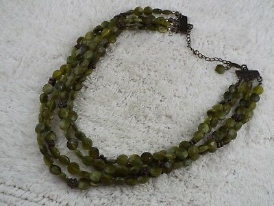 Multi Strand Marbled Green Bead Necklace (C47)
