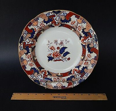 Antique Minton Hollins Hindostan Japan Imari Pattern Ironstone Soup Bowl 10.25""