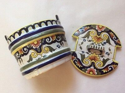 Antique French Rouen Faience Covered Salt / Butter Container Hand Painted, ff395