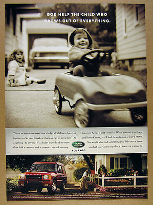 2000 Land Rover Discovery Series II boy in toy car photo vintage print Ad