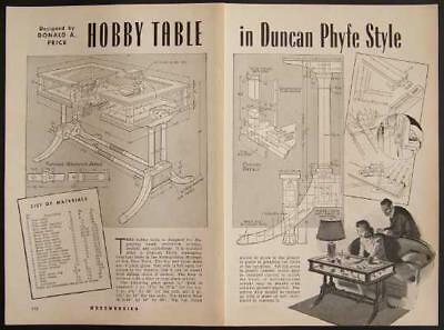 Duncan Phyfe Display Coffee TABLE 1943 How-to build PLANS Musuem