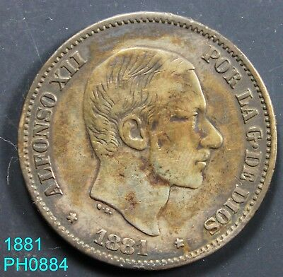 PHILIPPINES SPAIN 50 Centimos 1881 circulated silver coin