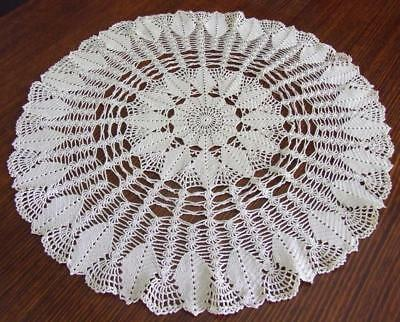 Gorgeous, Very Large Round Ecru Hand Crocheted Vintage Centrepiece