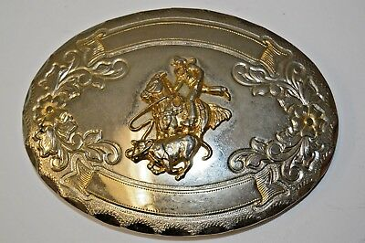 Vintage CHAMBERS Cattle Roper Rodeo Cowboy Western Engraveable Belt Buckle RARE