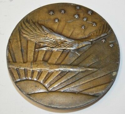 Vintage 1970s Round Soaring Eagle in Sunset Stars BOHO Brass Tone Belt Buckle