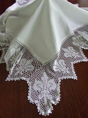 Beautiful Antique White Cotton Tablecloth with Deep Filet Crocheted Edging