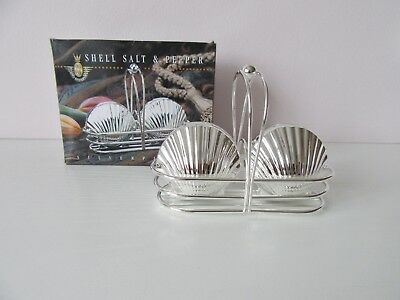 New Boxed Silver Plated Shell Salt & Pepper Shakers with Stand