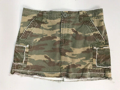 OLD NAVY Womens size 6 Camo Factory Destroyed 'Ultra Low Rise' Shirt
