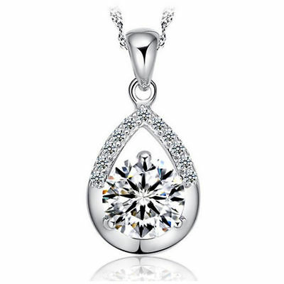 Water Drop Pendant 925 Sterling Silver Necklace Womens Jewellery Valentine Gift
