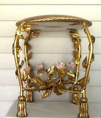 vintage HOLLYWOOD REGENCY VANITY STOOL, ITALIAN TOLE? ROSE FLOWERS, VINES, BEAUT