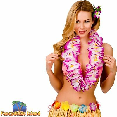 HAWAIIAN LARGE TWO TONE PURPLE LEI Adults Ladies Womens Fancy Dress