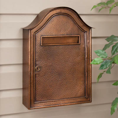 Large Hammered Copper Locking Wall Mount Mailbox Antique Copper
