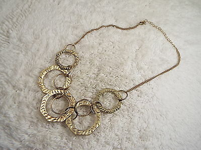 Hammered Goldtone Ring Chain Necklace  (D63)
