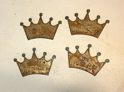 Lot of 4 Rusty Rough Crowns 3 in Metal Wall Art Stencil Ornament Craft Sign
