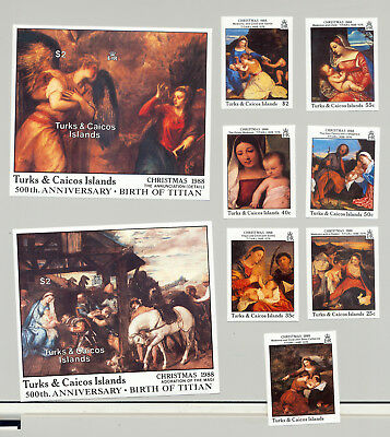 Turks & Caicos #757-765 Titian Art 7v & 2v S/S Imperf Proofs