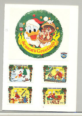 Turks & Caicos #645-647, 649-650 Disney Christmas 4v & 1v S/S Imperf Proofs