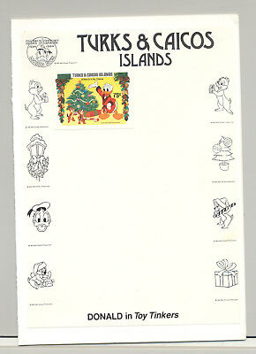 Turks & Caicos #648 Disney Christmas 1v Imperf Proof Attached to M/S Background