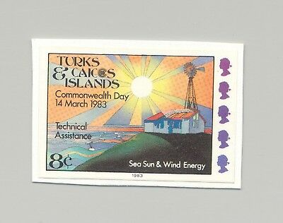 Turks & Caicos #556 Wind & Solar Energy 1v Imperf Proof on Card