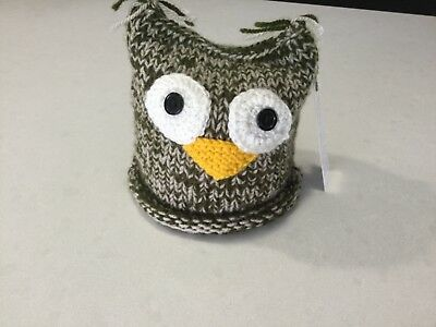 Owl, Knitted Large Size Toilet Paper/ Roll Cover, Green Tones—Handmade, New