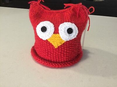 Red, Owl, Knitted Large Size Toilet Paper/ Roll Cover,—Handmade, New