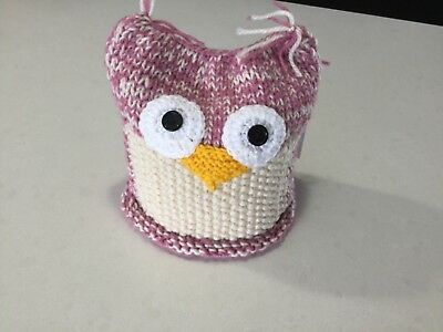 Owl, Knitted Large Size Toilet Paper/ Roll Cover,—Pink & white—Handmade, New