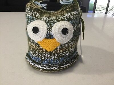 Owl, Knitted Large Size Toilet Paper/ Roll Cover,—Multi Green/Blue, New