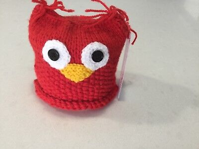 Owl, Knitted Small Size Toilet Paper/ Roll Cover,—RED, New