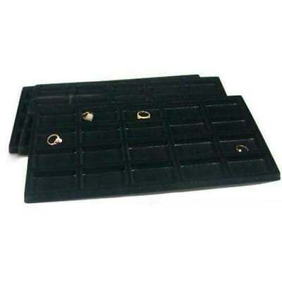 3 Black Flocked 20 Compartment Display Tray Inserts