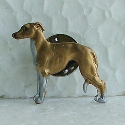 Whippet Fawn White Chest Lapel Pin Dog Breed Jewellery Handpainted Metal Alloy
