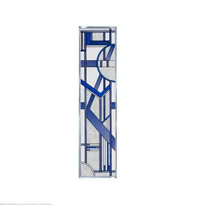 Deco Blue Painted Glass Panel R-190