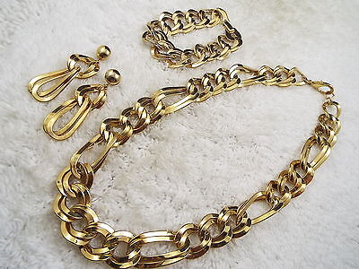 Goldtone Double Link Necklace, Bracelet, Pierced Earrings Set  (B32)