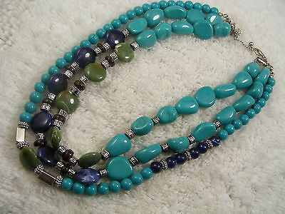 Silvertone Turquoise Purple Green Bead Multi Strand Necklace (C58)