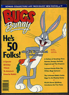1990 Bugs Bunny He's 50 Folks Magazine With Box Office Bunny Cel Attached