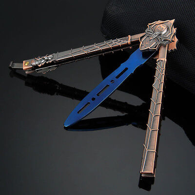 Cool! METAL BUTTERFLY Trainer Practice BALISONG Dull Tool Araneid Knife Blue