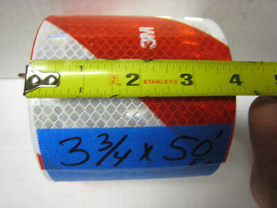 """RED WHITE DIAGONAL STRIPE Reflective   Conspicuity Tape 3-3/4""""x50'"""