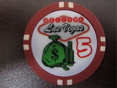 $5 WELCOME LAS VEGAS with Green Money Bag Casino Chip for Gaming Poker