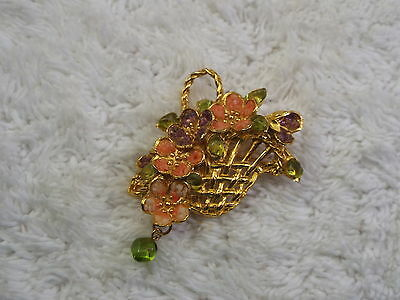 Goldtone Pink Purple Flower Basket Pin  (A48)
