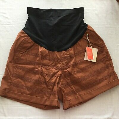NEW A glow maternity shorts Size 14 or 16 brown cotton embroidered belly panel