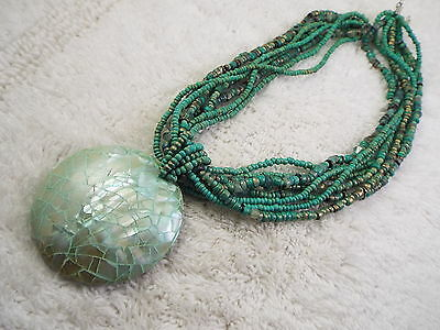 Multi Strand Seafoam Bead Large Shell Inlay Pendant Necklace (C43)