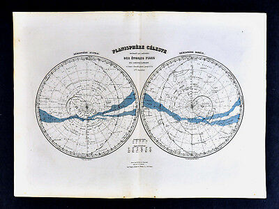 1877 Migeon Map - Celestial Star Chart in Hemispheres North & South Sky Heavens