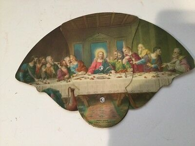 Vintage 3-Piece Fan Snyder Funeral Home Jesus Last Supper Galion OH Messenger Co