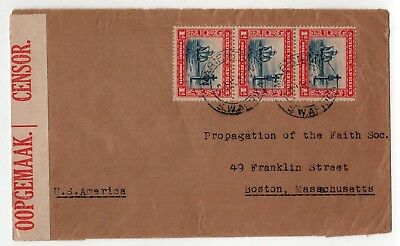 1940 MARIENTAL SOUTH WEST AFRICA Namibia Cover CENSOR Boston USA Oopgemaak