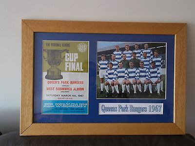 Framed Queens Park Rangers squad photo cup final 4/3/1967 and programme cover