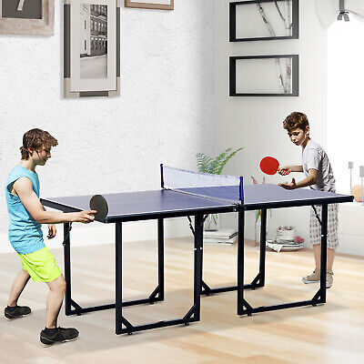 Tennis Table Ping Pong Storage Foldable Mini with Net Steel Blue 183cm Indoor