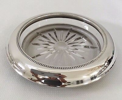 VINTAGE FRANK M WHITING & Co STERLING SILVER LARGE WINE COASTER NUT DISH 6 3/4""